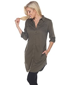 White Mark Women's Lakota Stretchy Button-Down Tunic