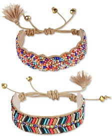 Deepa Gold-Tone 2-Pc. Set Bead & Tassel Bolo Bracelets