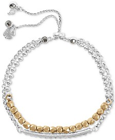 Lucky Brand Two-Tone Crystal Two-Row Slider Bracelet