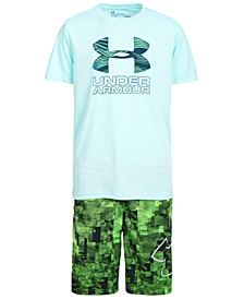 Big Boys Charged Cotton® Print Fill Logo T-Shirt & Printed Shorts Separates