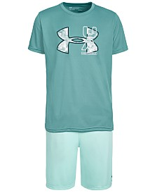 Under Armour Big Boys Logo-Print T-Shirt & Prototype Wordmark Shorts Separates