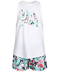 Big Girls Filled Logo Tank Top & Printed Shorts Separates