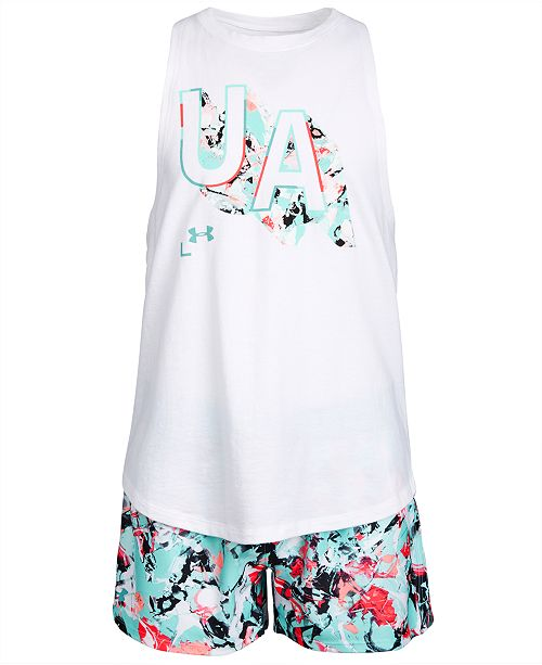 Under Armour Big Girls Filled Logo Tank Top & Printed Shorts Separates