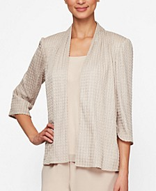 Petite Ribbed Jacket & Tank Top Set