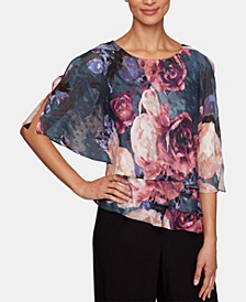 Petite Printed Split-Sleeve Popover Top