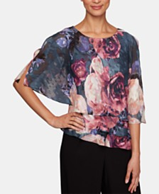 Alex Evenings Printed Split-Sleeve Popover Top