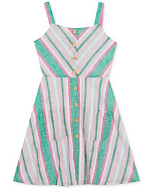 Rare Editions Big Girls Chevron Striped Cotton Sundress