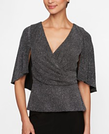Alex Evenings Petite Printed Capelet Top