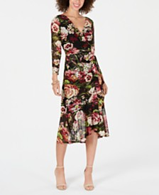 Connected Petite Floral-Print Wrap Midi Dress