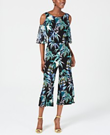 Connected Printed Cold-Shoulder Jumpsuit
