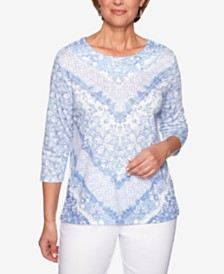 Alfred Dunner Petite The Summer Wind Braided-Crewneck Top