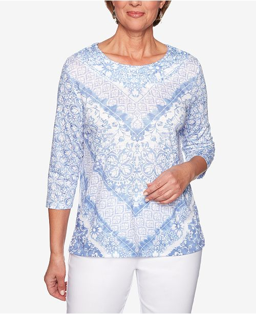 Alfred Dunner The Summer Wind Printed Twist-Detail Top