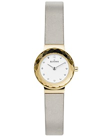 Skagen Women's Leonora Gray Leather Strap Watch 25mm