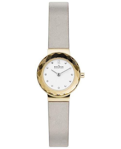 Skagen Women's Leonora Gray Leather Strap Watch 25mm