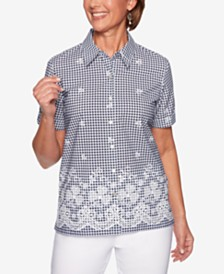 Alfred Dunner In The Navy Gingham-Print Short-Sleeve Shirt