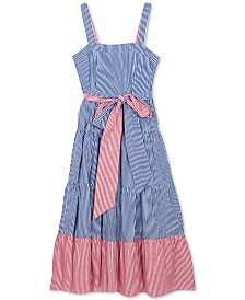 Rare Editions Big Girls Striped Cotton Maxi Dress