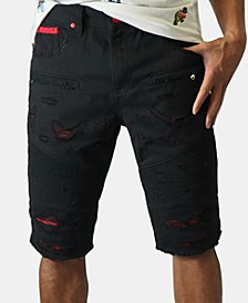 Men's Red Trim Ripped Denim Shorts