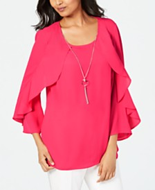JM Collection Petite Ruffle Necklace Top, Created for Macy's