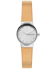 Skagen Women's Freja Yellow Leather Strap Watch 26mm