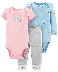 Baby Girls 3-Pc. Bodysuits & Pants Set
