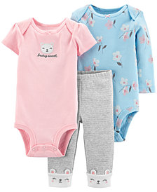 Carter's Baby Girls 3-Pc. Bodysuits & Pants Set