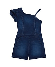 Bebe Girls Puff Sleeve Denim Romper