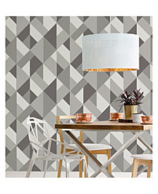 "Brewster Home Fashions Delano Structured Geo Wallpaper - 396"" x 20.5"" x 0.025"""