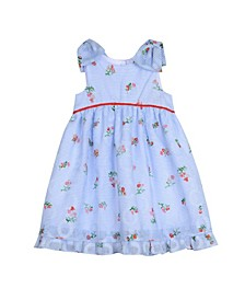London Little Girls Bow Sleeve Party Dress
