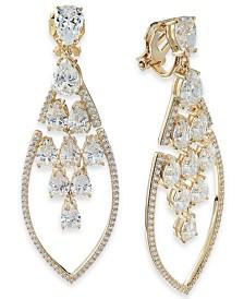 Danori Crystal Teardrop Cluster Clip-On Drop Earrings, Created for Macy's
