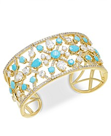 Stone & Cubic Zirconia Openwork Cuff Bracelet, Created for Macy's