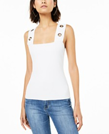 Bar III Sleeveless Grommet-Trim Knit Top, Created for Macy's