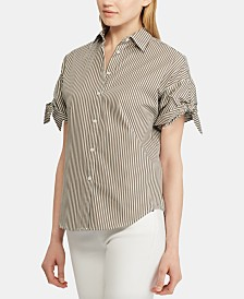 Lauren Ralph Lauren Stripe-Print Tie-Sleeve Cotton Shirt