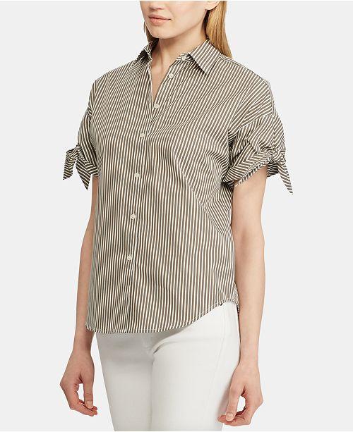 Lauren Ralph Lauren Stripe-Print Tie-Sleeve Cotton Shirt