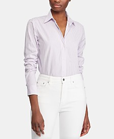 Lauren Ralph Lauren Stripe-Print Button-Down Cotton Shirt