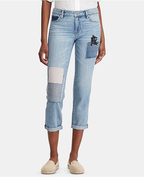 Lauren Ralph Lauren Relaxed-Fit Monogrammed Patch Estate Jeans