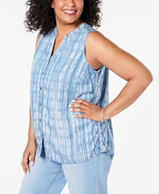 Style & Co Plus Size Printed Sleeveless Shirt, Created for Macy's