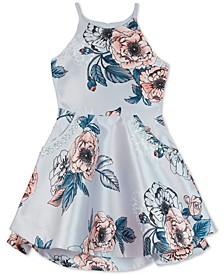 Big Girls Floral-Print Mikado Dress
