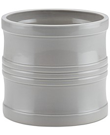 "Ceramics 7.5"" Tool Crock with Partition Insert, Light Gray"
