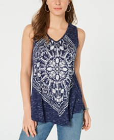 Style & Co Petite Sleeveless Graphic Tee Tank Top, Created for Macy's