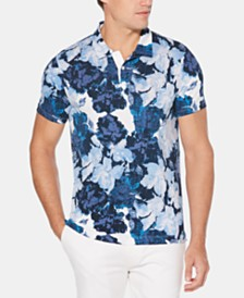Perry Ellis Men's Regular-Fit Watercolor Floral Pima Cotton Polo