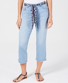 Style & Co Curvy-Fit Belted Cropped Jeans, Created for Macy's