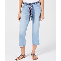 Deals on Style & Co Curvy-Fit Belted Cropped Jeans