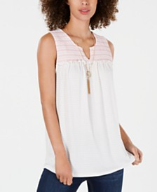Style & Co Embroidered-Yoke Ruffle-Trim Top, Created for Macy's