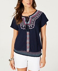 Style & Co Embroidered Peasant Blouse, Created for Macy's