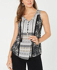 Lace-Up Tasseled Top, Created for Macy's