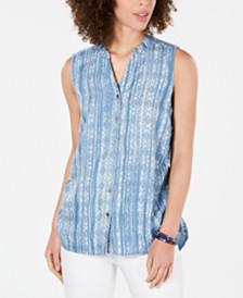 Style & Co Petite Cinched-Side Sleeveless Top, Created for Macy's
