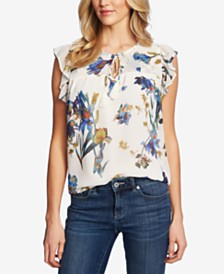 CeCe Watercolor Iris Flutter-Sleeve Blouse