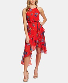 CeCe Asymmetric-Ruffle Printed Halter Dress