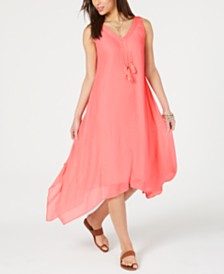 Style & Co Asymmetrical-Hem Tassel Dress, Created for Macy's