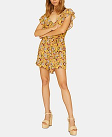 Sunrays Printed Faux-Wrap Romper